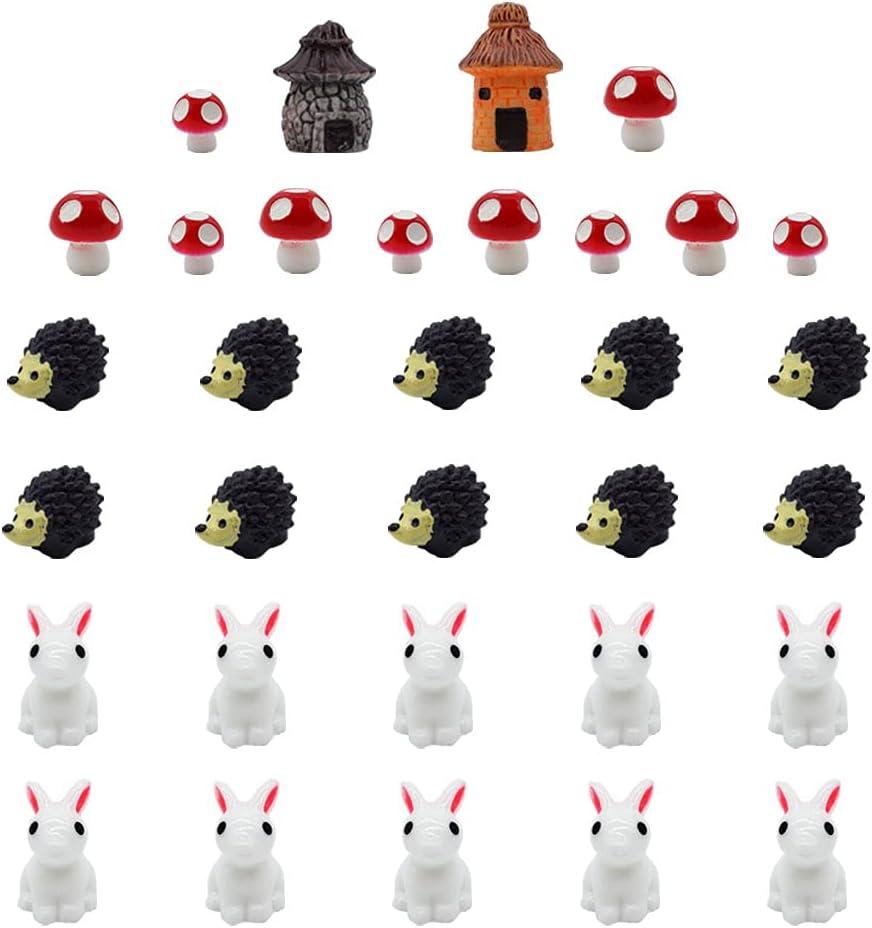 32 Miniature Ornaments, Fairy Tale Garden Decoration, Flower Pot, Micro Landscape, Outdoor Bonsai Ornament, Figurines, Rabbit Hedgehog Mushroom House