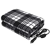 Tvird Electric Car Blanket- 12 Volt Heated Car Blanket with Temperature Controller,Travel Electric Blanket for Cars and RVs-Great for Cold Weather, Tailgating, and Emergency Kits Black/White (59'x43')
