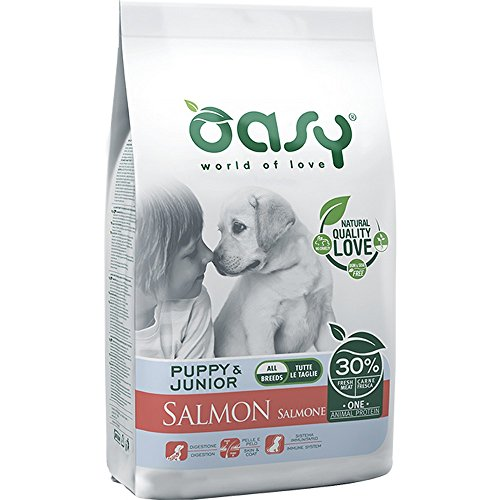 Oasy Dog Monoproteico Puppy&Junior All Breeds con Salmone, 12 Kg