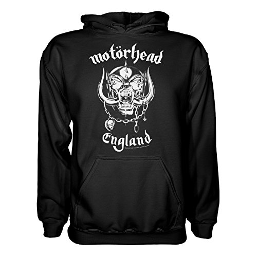 King of Merch – Sudadera con capucha – Motörhead England Lemmy Kilmister Rock N 'Roll metal Hard Rock the world IS Yours banda Café Taza Iron Cross England Cruz de Hierro negro Medium