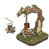 Alfred Kolbe Krippen AM 20 Set d'accessoires de crèche de Noël Comprenant Un feu de Camp Qui s'illumine 4,5V et Une Hache à Couper Le Bois Compatible avec des Figurines de 10-12cm