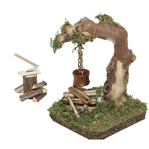 Alfred Kolbe Krippen AM 20 Weihnachtskrippen-Zubehör-Set Wurzel-Lagerfeuer beleuchtet 4,5 V und Hackstock für 10-12 cm Figuren