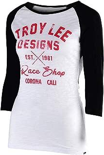 Troy Lee Designs Women's Long Sleeve Vintage Race Shop T-Shirt (Large, Black/White)