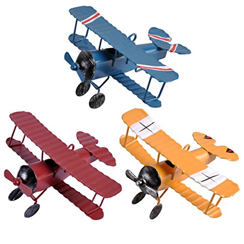 eZAKKA Airplane Decor Hanging Airplane Ornament Vintage Mini Metal Airplane Toys Decorations Model Aircraft Biplane Pendant for Boys Room, Photo Props, Christmas Tree, Desktop Decoration, 3 Color-Pack