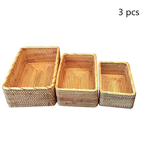 OUY Rattan Fruit Basket Rectangular Serving Tray Fruit Display Storage Basket Hand-Woven Rattan Woven Storage Basket (Color : Natural, Size : S+M+L)