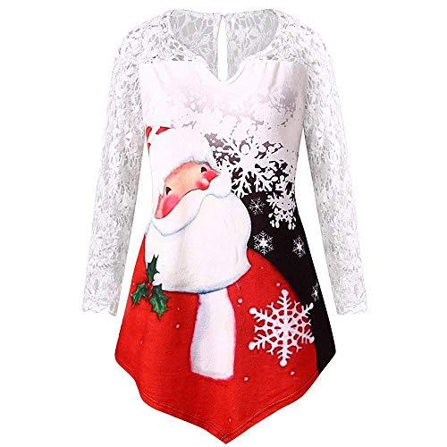 Huixin Ladies Christmas Santa Claus Tunique en Dentelle T Vêtements Impression D Shirt À Manches Longues Sweat Shirt À Manches Longues Pull Robe Pull (Color : Rot, Size : 2XL)