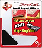 Grips The Rug with Nevercurl Includes 8' V Shape Corners with EVA Foam Tip for Easy Rug Lifting - Patented - Instantly Flattens Rug Corners and Stops Rug Slipping - Gripper uses Renewable Sticky Gel