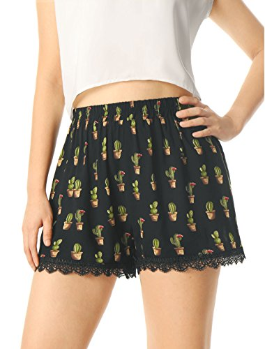 Allegra K Women's Allover Printed Lace Trim Elastic Waist Summer Shorts Black-Cactus Print XS (US 2)