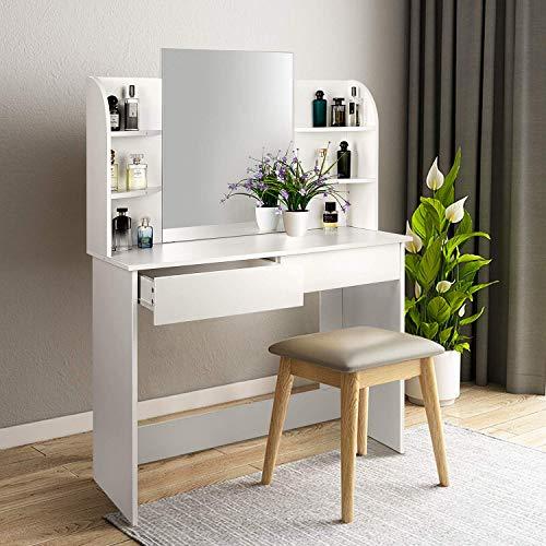 amzdeal Schminktisch mit Großem Spiegel,Frisiertisch mit 2 Schubladen und 6 Regale, Kosmetiktisch aus Holz, ohne Hocker, 108x40x140CM,Weiß