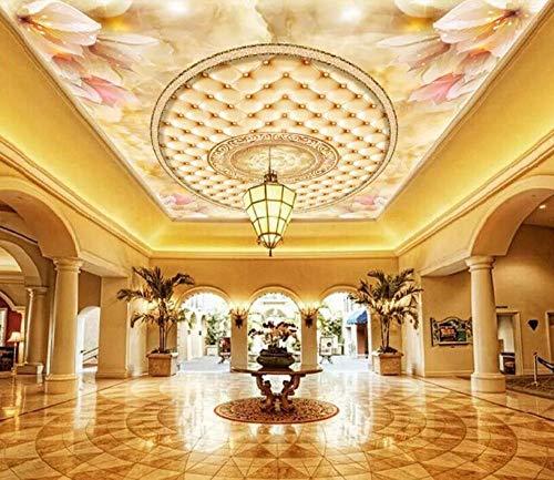 Wqavten 3D behang op maat foto behang bloemen marmer zachte tas plafond behang muur 200cmx140cm