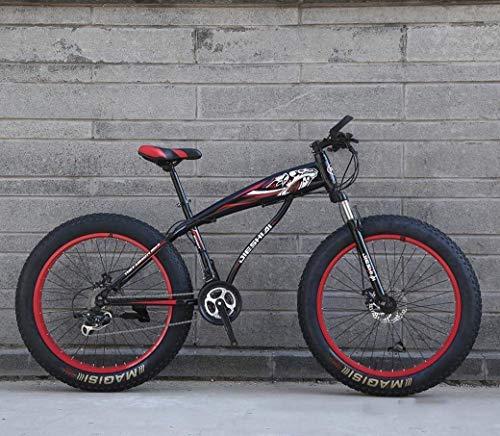 YANGHAO-Bicicleta de montaña para adultos- Bicicleta de montaña de 24 '/ 26' 27 ', bicicleta de nieve de rueda grande, freno de disco doble, tenedor frontal absorbente de choque fuerte, bicicleta de p