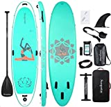 Soopotay Inflatable SUP Stand Up Paddle Board, Inflatable SUP Board, iSUP Package with All Accessories (Yoga-Aqua-10'8'' x 34'' x 6'')