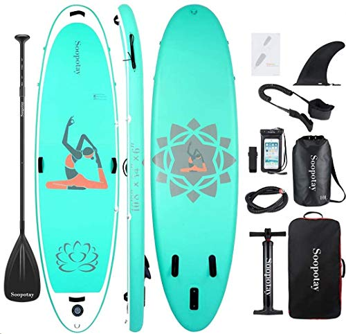 Soopotay Inflatable SUP Stand Up Paddle Board, Inflatable SUP Board, iSUP Package with All Accessories (Yoga-Aqua-10'8'' x 34'' x 6'')