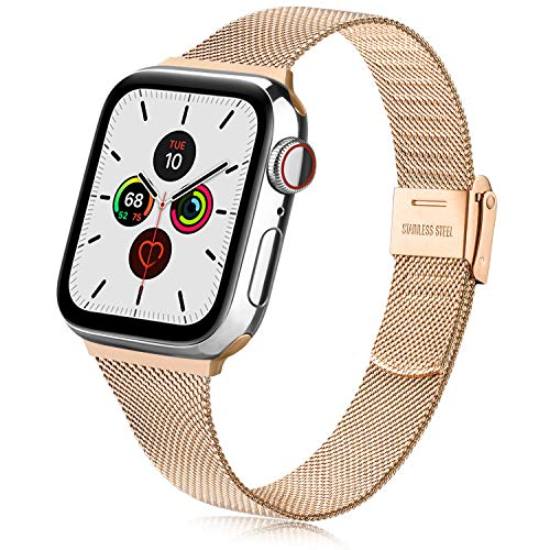 Replacement Strap compatible for Apple Watch Strap 38mm 40mm 44mm, Stainless Steel Replacement Bracelet with Metal Buckle for iWatch SE Series 6/5/4/3/2/1 (38mm 40mm, Rose Gold)