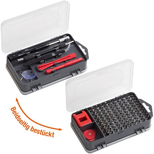 Meister Feinmechaniker-Set 108-teilig - Reparatur-Set für Smartphones, Tablets, PCs, Konsolen, Kameras, Uhren, Brillen, Modellbau & Co. / Repair-Tool-Kit / Präzisions-Schraubendreher-Satz / 3387780 - 2