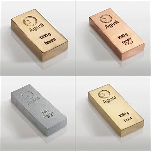 Lot von 4 Barren von 1 kg alternativen Metallen. Enthält 4 Barren von 1 kg Bronze, Kupfer, Aluminium und Messing. Wunderschön in deutscher Edelmetallraffinerie geprägt