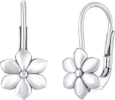 Silvego, orecchini da bambina in argento Sterling 925, a forma di fiore