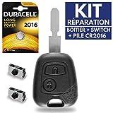Coque Plip Boitier de Télécommande Clé Peugeot 406 206 SW CC HD Coupé  Pile CR2016 DURACELL - Kit iRace Keys
