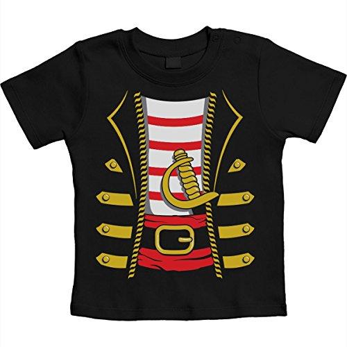 Baby Seeräuber Karneval und Halloween Kostüm Unisex Baby T-Shirt Gr. 66-93 18-24 Monate / 93 Schwarz