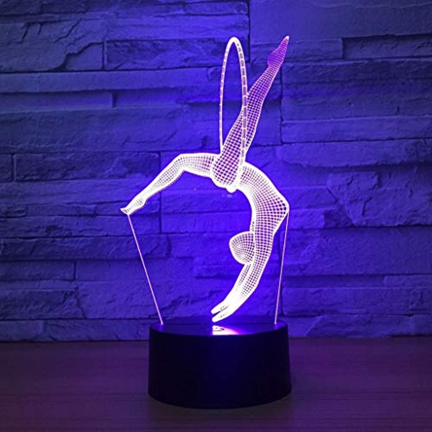 H.JPT Night Light Gymnastics 3D Lights Farbeful LED Table Lamp Touch Switch Acrylic Visual Gift Stereo Lamp for Boy Girl Watch Winder Box