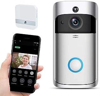 Sonnette sans fil avec caméra étanche 720p HD, sonnette maison – Vidéoporteur Wi-Fi extérieur avec conversion bidirectionn...