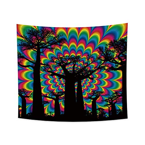 OERJU 39.4x34.3 inch Psychedelic Tree Tapestry Wall Hanging Trippy Forest Colorful Nature Landscape Tapestry Bohemian Hippie Tapestries for Bedroom Living Room College Dorm Room Decor