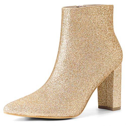 Allegra K Damen Spitze Glitzer Blockabsatz Ankle Boots Stiefel Gold 36