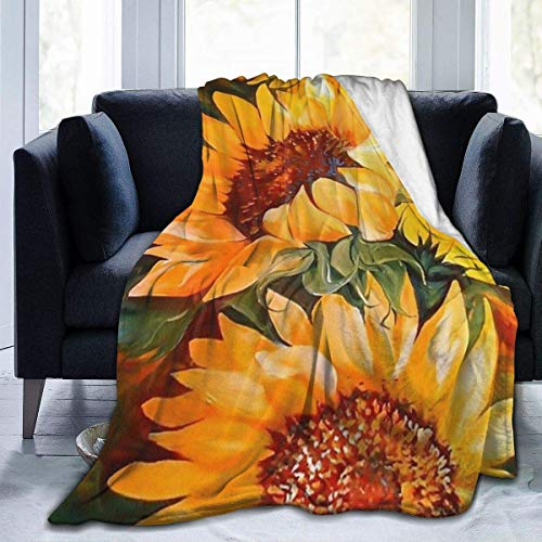 """TinaCobur Oil Painting Sunflower Flannel Fleece Throw Blanket Reversible for Couch Sofa Bed Chair-Ultra Soft Anti-Static for All Season, 127cm x 152cm (50"""" x 60"""")"""