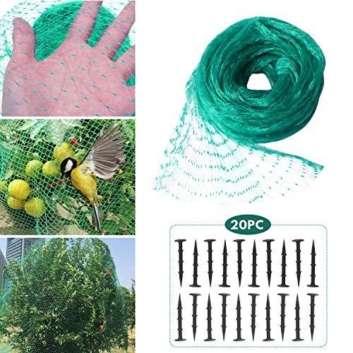 Hywean 4 * 6m Rete per Uccelli Rete Anti-Uccelli Verde Rete Protezione per Piante stagni Frutti Larghezza Maglie, 20 Chiodi di Fissaggio in Plastica (verde4)