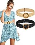 MELLIEX 2 Piezas Cinturón Elástico Trenzado de Paja, Cinturones de Vestir Tejido de Mujer Bohemio Vintage con Hebilla de Resina