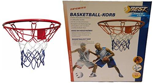 Canestro senza palla, stabile metallo konstr costruzione in misura ufficiale con diametro di 45cm, completo di viti di fissaggio e dadi–e pallacanestro Rete