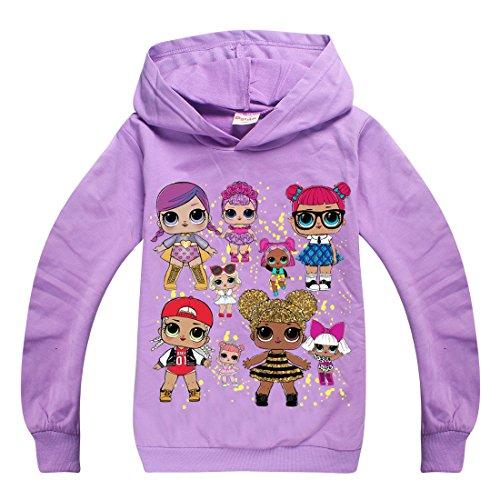 Mädchen T-Shirt Mit LOL Dolls Rocker, BFF Fancy & Fresh, Diva, Swag, Leading Baby Kinder Baumwoll Top (7225purple, 150(9-10Jahre))
