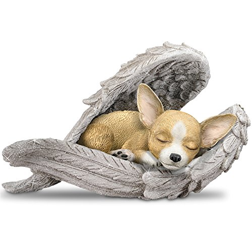 The Hamilton Collection Blake Jensen Chihuahua Leave Paw Prints On Our Hearts Wrapped in Angel Wings Figurine