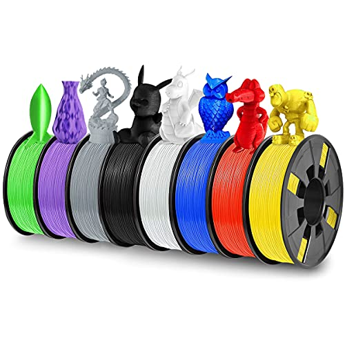 8 Pack PLA 3D Printer Filament, Dveda 1.75mm PLA 3D Printing Filament in Total 2KG, 8 Colors Dimensional Accuracy + - 0.03 mm Widely Compatible for 3D Printing