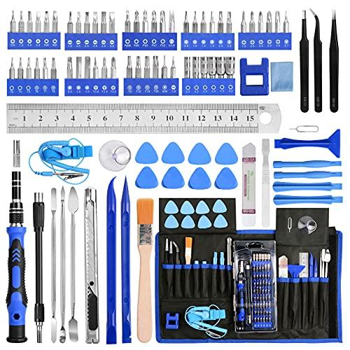 Destornilladores Precisión Kit, YOVOCA 90 en 1 Juego Destornilladores Herramientas de Reparación con Magnetizador para Reparación iPhone, iPad, PS4, Reloj, Tablet PC, MacBook, Gafas