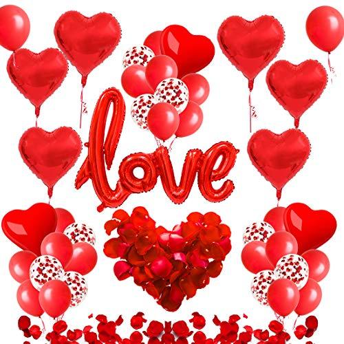 Set de Decoración Romántico,Love Pétalos, Globos de Confeti, Globos de Corazón, Globos Corazon Rojos,Love Decoración, día de Boda, Compromiso, Propuestas de Matrimonio (amor rojo 33)