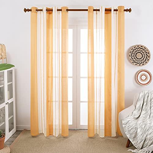 Deconovo Cortinas Habitacion Translucidas, Decorativas de Diseño Simple, con Ojales, 140x138cm(Ancho x Alto), Amarillo Oscuro, 2 Piezas