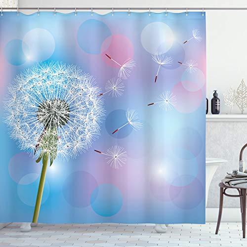 ABAKUHAUS Löwenzahn Duschvorhang, Bokeh Design Pusteblume, mit 12 Ringe Set Wasserdicht Stielvoll Modern Farbfest & Schimmel Resistent, 175x200 cm, Hellrosa Himmelblau Grün