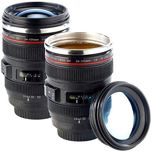 Somikon Kamera Objektiv Becher: 2er-Set Kameraobjektiv-Becher, doppelwandig, innen Edelstahl, 300 ml (Thermobecher Objektiv)