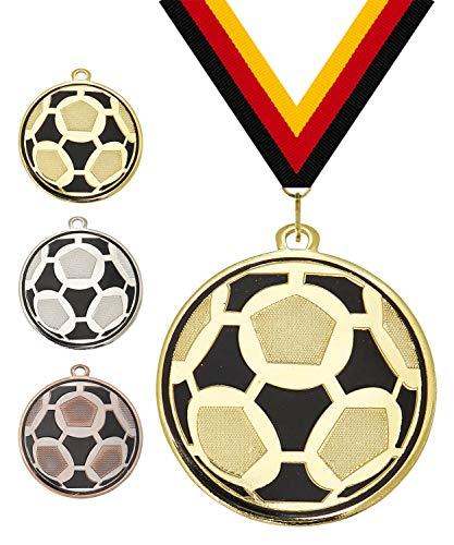 Pokalmatador GmbH Ø 50 mm Medaille Fussball inkl. Medaillenband und optionaler, individueller Beschriftung (Bronze, inkl. Beschriftung)