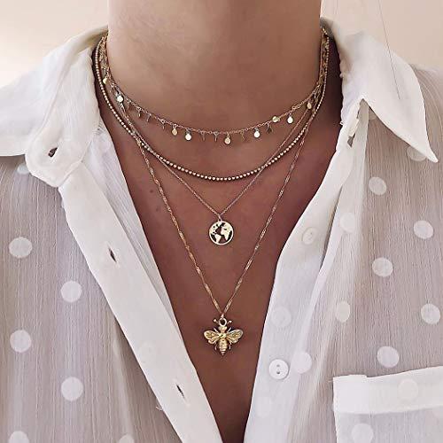 Handcess Collar de lentejuelas bohemio, con colgante de abejas, de oro, para mujeres y niñas