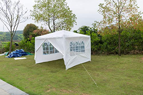 AutoBaBa Garden Gazebos, White PE Gazebo Marquee Awning Tent Canopy for Outdoor Wedding Garden Party, 3x3m, 3x4m, 3x6m, Fully Waterproof, (3x3m, With Zip Up Side Panel)