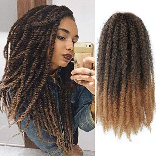 GX Beauty 4 Packs Marley Hair Afro Kinky Curly Crochet Hair 18 Inch Long Marley Twist Braiding Hair Ombre Kanekalon Synthetic Marley Braids Hair Extensions for Women(1B-27#)