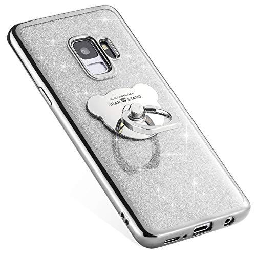 Uposao Compatible avec Samsung Galaxy S9 Coque Silicone Luxe Paillette Brillante Bling Glitter Coque + Ours Bague Support TPU Ultra Mince Anti-Choc Souple Bumper Métal Coque pour Galaxy S9,Argent