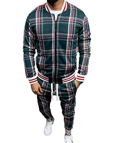 U/N Karierter Anzug Basketball Trainingsanzüge für Männer,Zip Up Gerippte Manschette und Saum Sweatshirt Anzug Outwear