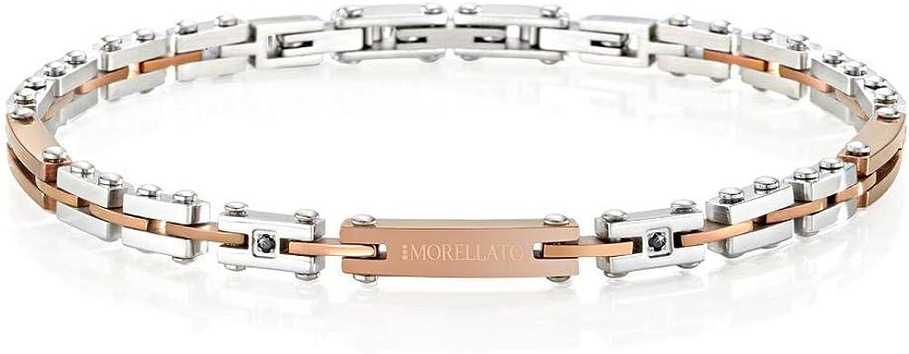 Morellato, bracciale da uomo, collezione alfa , in acciaio, pvd oro rosa e cristalli SAEV24
