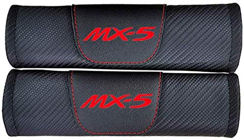 NBHUYT 2Pcs Car Seat Belt Padding Protection Covers, For Mazda Mx5, Auto Safety Shoulder Strap Cushion Cover Pads (Color : Red)