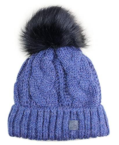 Ever Bloom Gorro de punto para mujer con diseño trenzado, gorro con pompón de pelo sintético, extraíble, fabricado en la UE, cálido gorro de invierno con forro polar de alta calidad, azul, Talla única