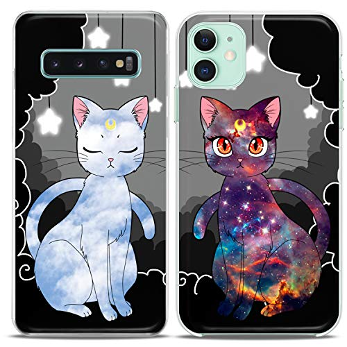 Cavka TPU Matching Couple Cases for Samsung Galaxy S20 Note 10 5G S10 A50 A11 S7 S8 Luna Cats Clear Gift Silicone Pairs Cover Kawaii Moon Best Friends Cute Print Anime Galaxy Anniversary Flexible