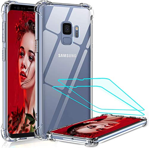 LeYi Funda Samsung Galaxy S9 con [2-Unidades] 3D Curvo Pet Pantalla,Cristal Transparente Shockproof Carcasa Ultra Silicona PC y TPU Slim Gel Bumper Antigolpes Cover Case para Movil S9, Clear
